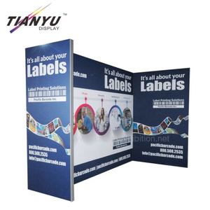 custom 3 X 6m heavy duty backdrop stand Booth Graphic Designing Cosmetic Advertising Exhibition Stand