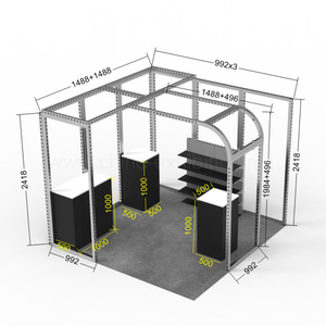Modular easy set up Exceptional Quality Custom Printing 3X6 reusable exhibition booth stand