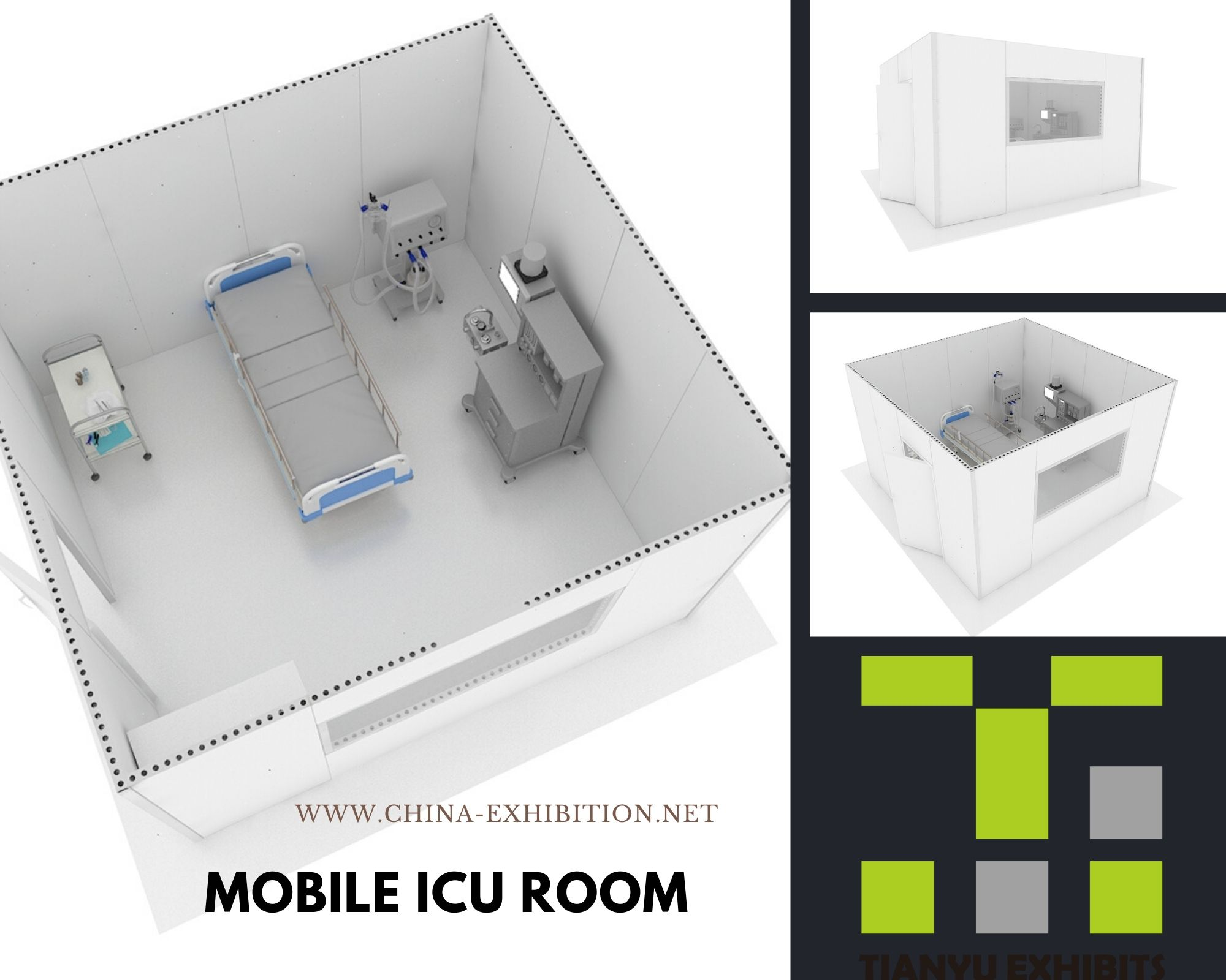 Isolation cabin for ICU room